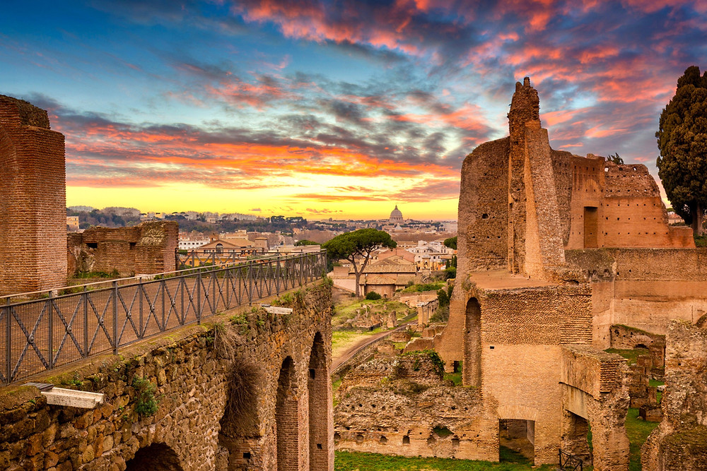 ruins of the House of Augustus in Rome Italy