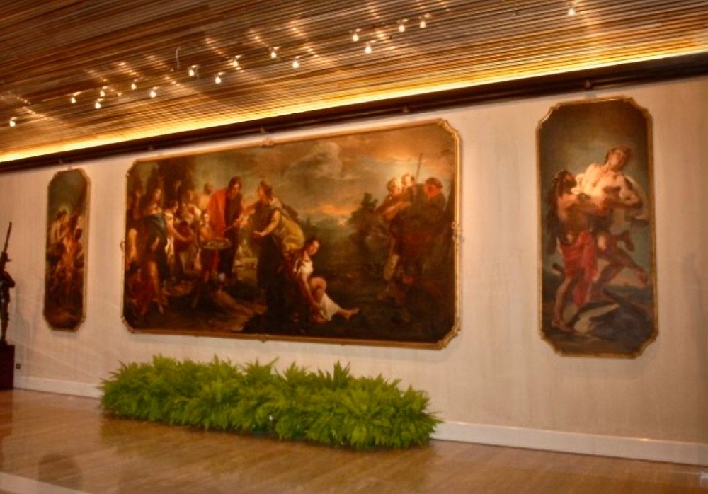 Tiepolo triptych in the lobby of the Rome Cavalieri