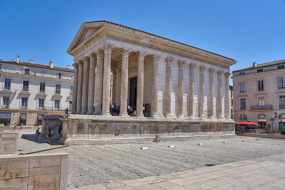 Maison Caree, an ancient Roman temple in Nimes France