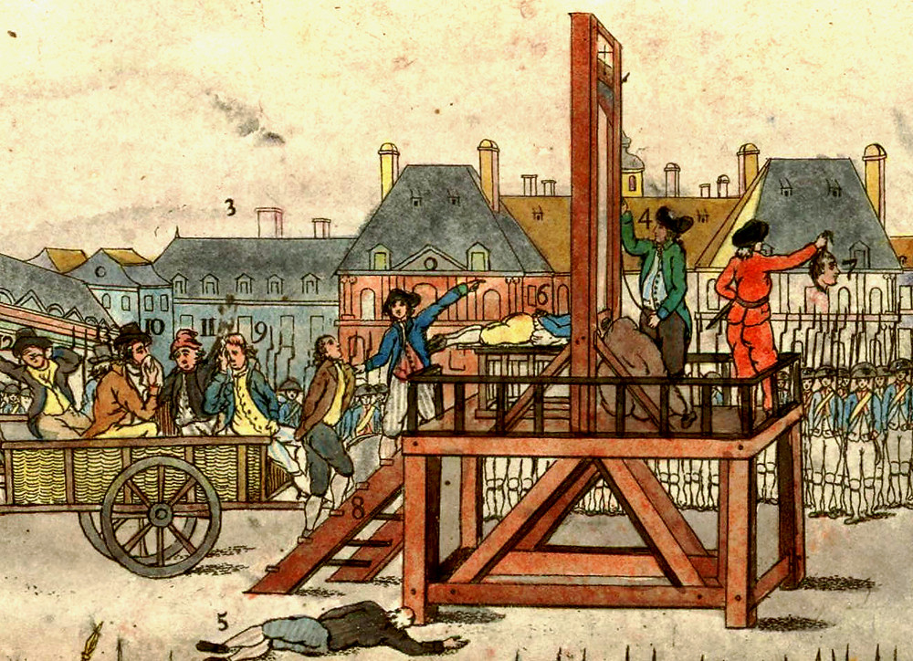 In the Reign of Terror, led by Robespierre, people were imprisoned in th Conciergerie and then carted off to the guillotine.