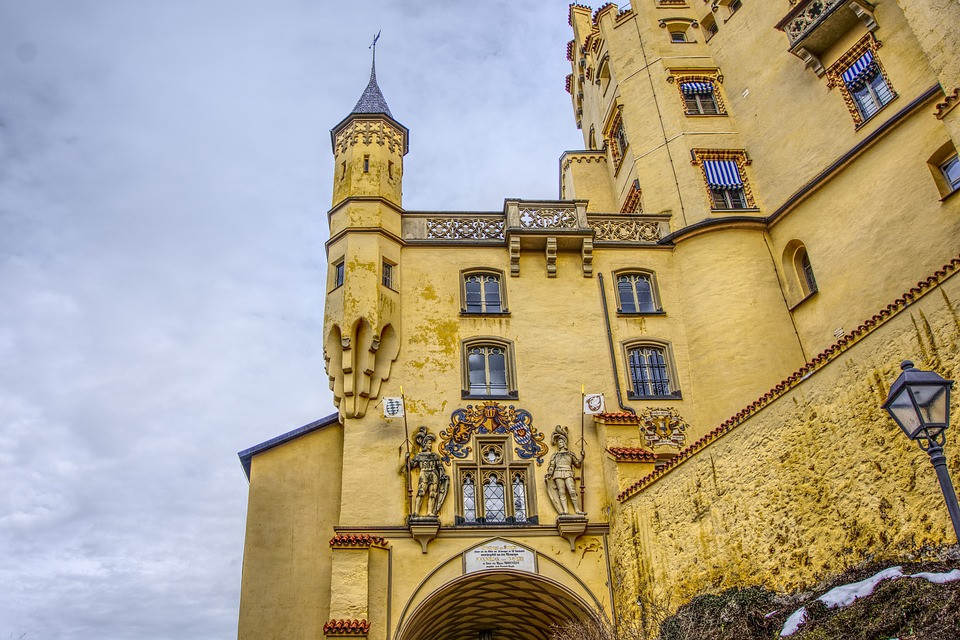 detail of Hohenschwangau Palace with a colorful exterior painting