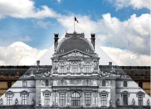 Artist JR's disappearance of the I.M. Pei Pyramid of the Louvre