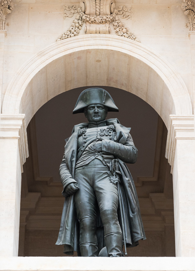 a statue of Napoleon guards Les Invalides