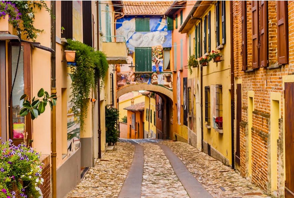 pretty street in Dozza with mural fresco