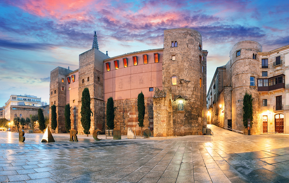 Panorama of Ancient Roman Gate and Placa Nova in the Gothic Quarter