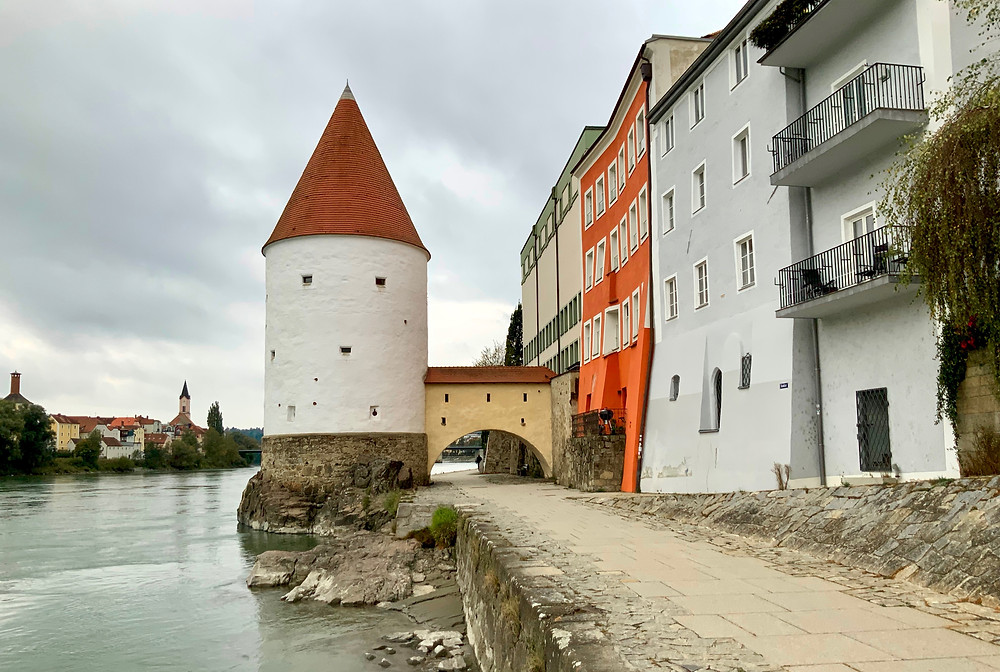 Schaibling Tower, located at the banks of the Inn River in Passau and dating from the 14th century