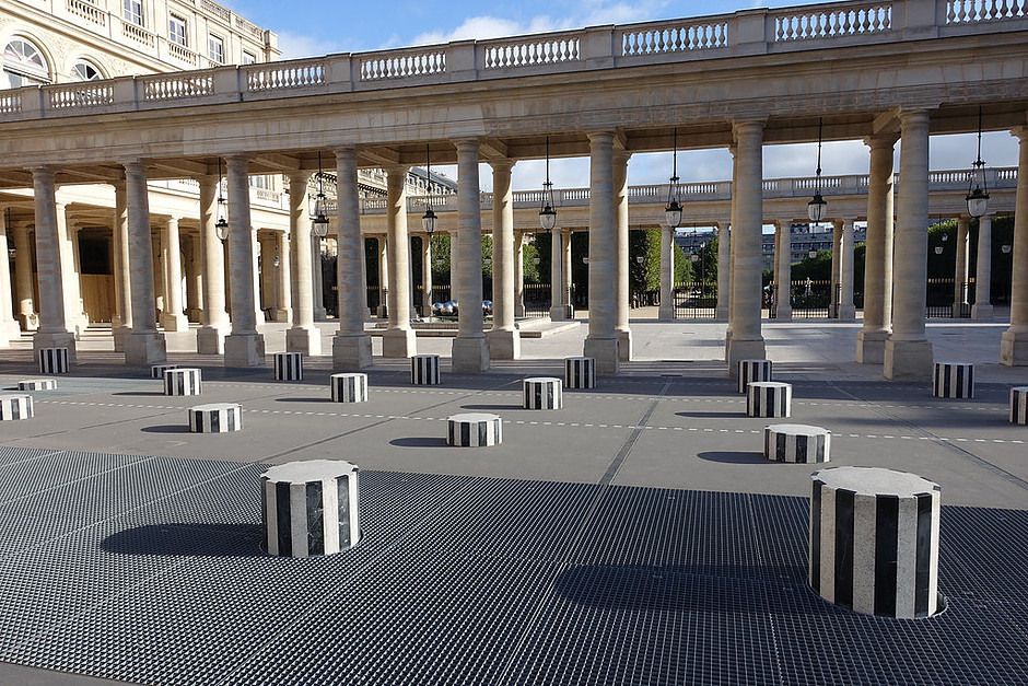 the Colonnes de Buren at the Palais Royal