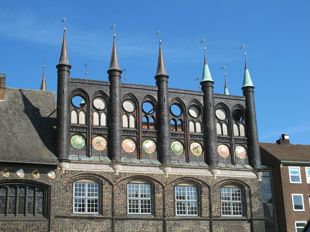 the unique town hall in Lubeck Germany