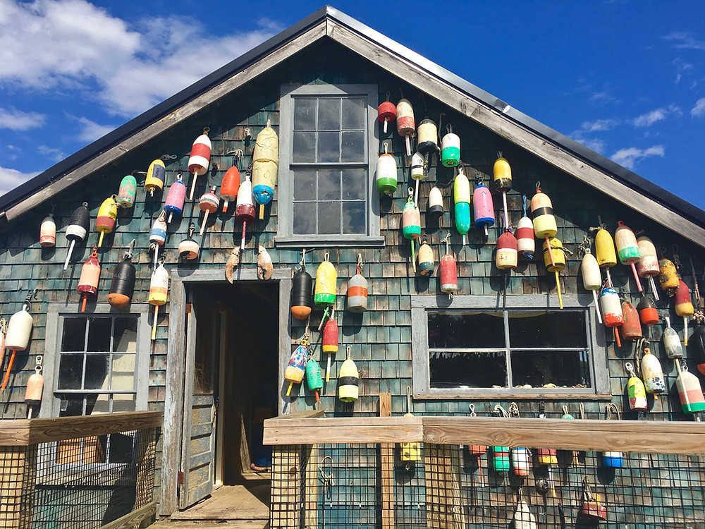 buoy-decorated lobster shop in Bar Harbor