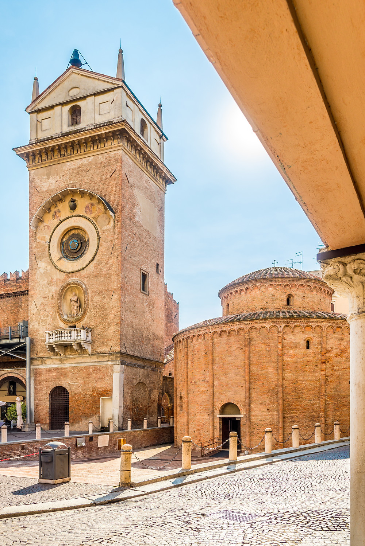 the clock tower and rotunda on Piazza Erbe in Mantua