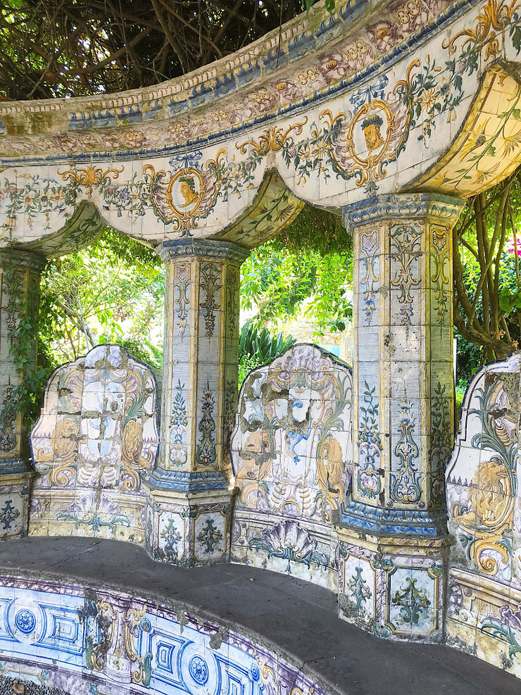 Quinta dos Azulejos Garden -- where azulejos are benches, columns, and pediments