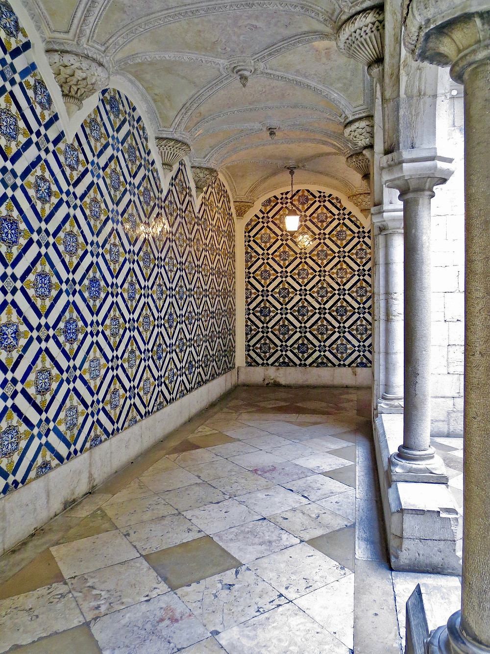 azulejo-clad corridor in the National Tile Museum