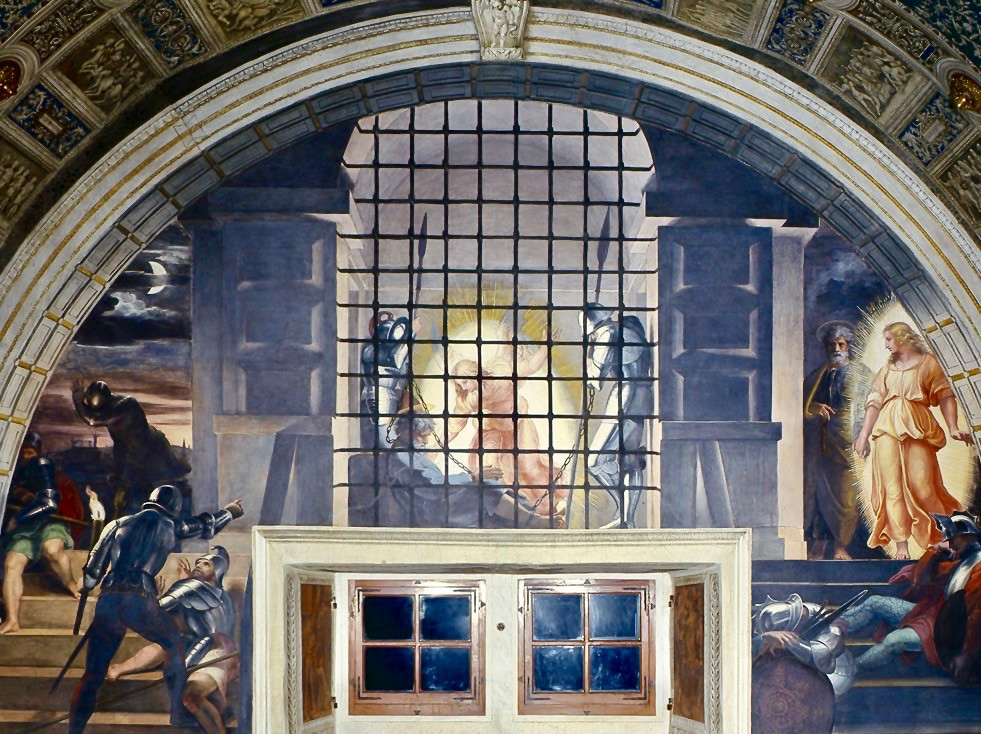Raphael, The Liberation of St. Peter, 1514 -- Room of Heliodorus in the Vatican Museums
