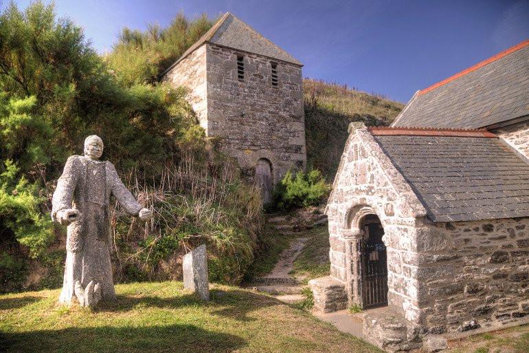 St. Winwalloe Church in Cornwall, on the beach