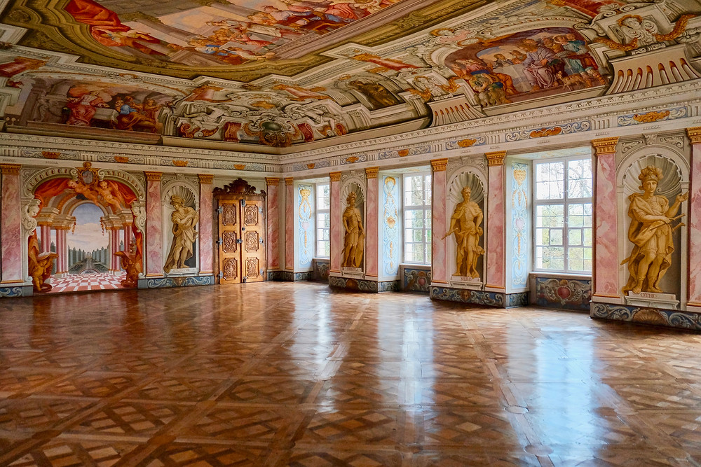 beautiful painted hall in Herrenchiemsee Palace outside Munich