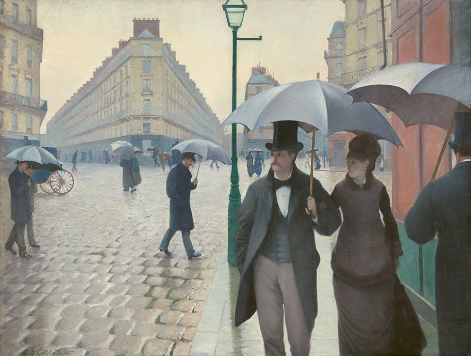 My favorite Gustave Caillebotte painting, Paris Street, Rainy Day, 1877