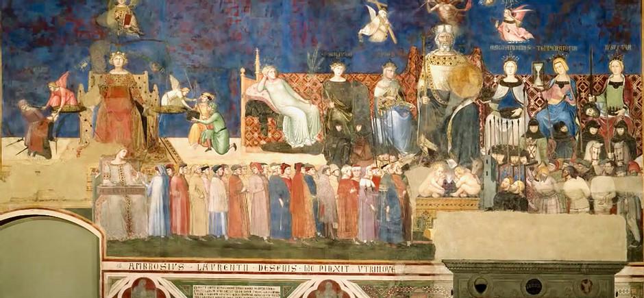 Ambrogio Lorenzetti, Allegory of Good Government, 1337-41, in Siena's Palazzo Pubblicco