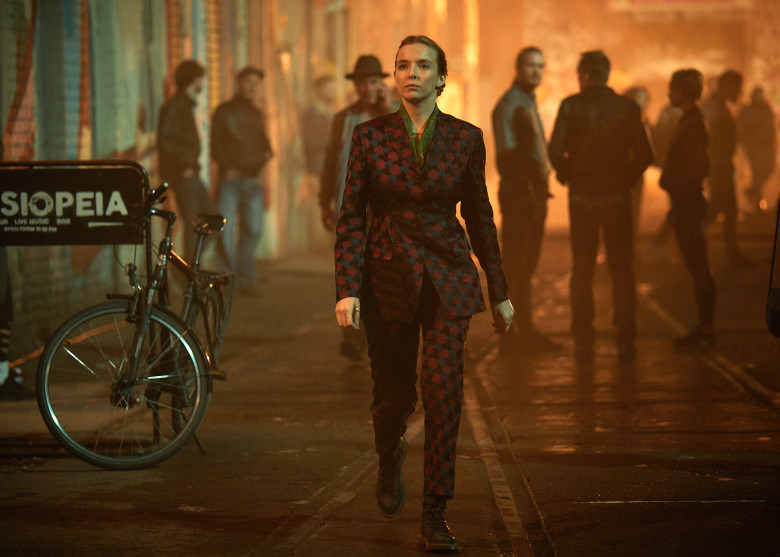 Villanelle prowls Berlin in a brocade Dries Van Noten suit