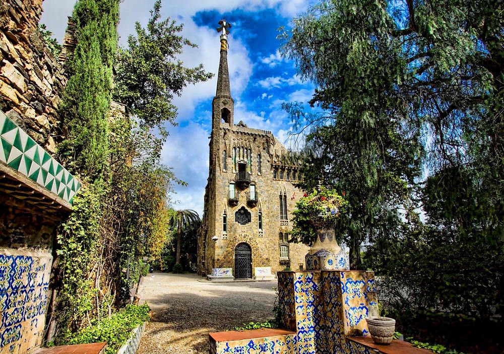Gaudi's Torre Bellesguard in the Sarria neighborhood of Barcelona