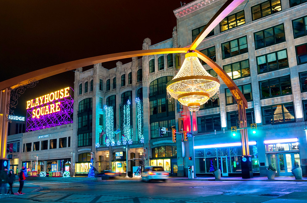 the iconic chandelier in Playhouse Square