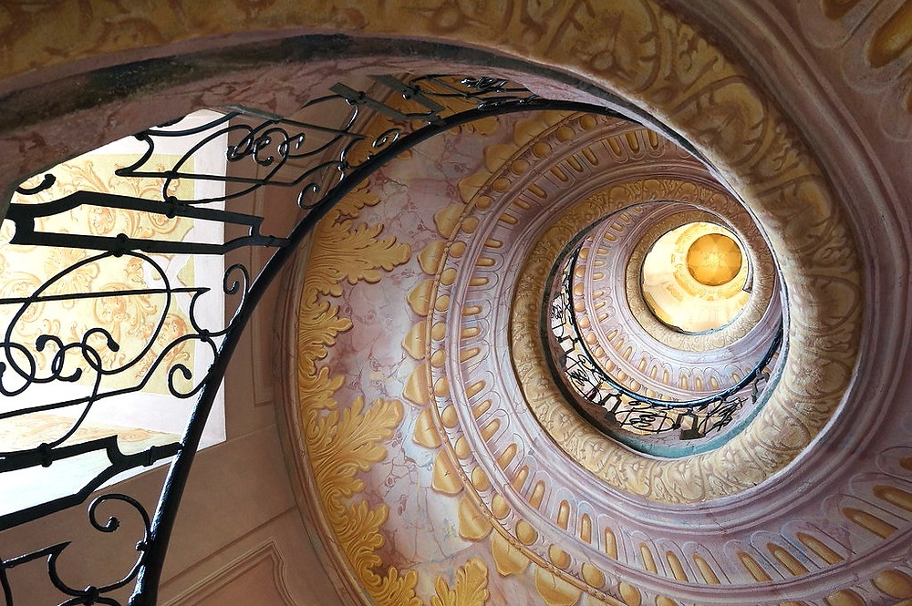 """another shot of the staircase, which people like to dub the """"stairway to heaven"""""""