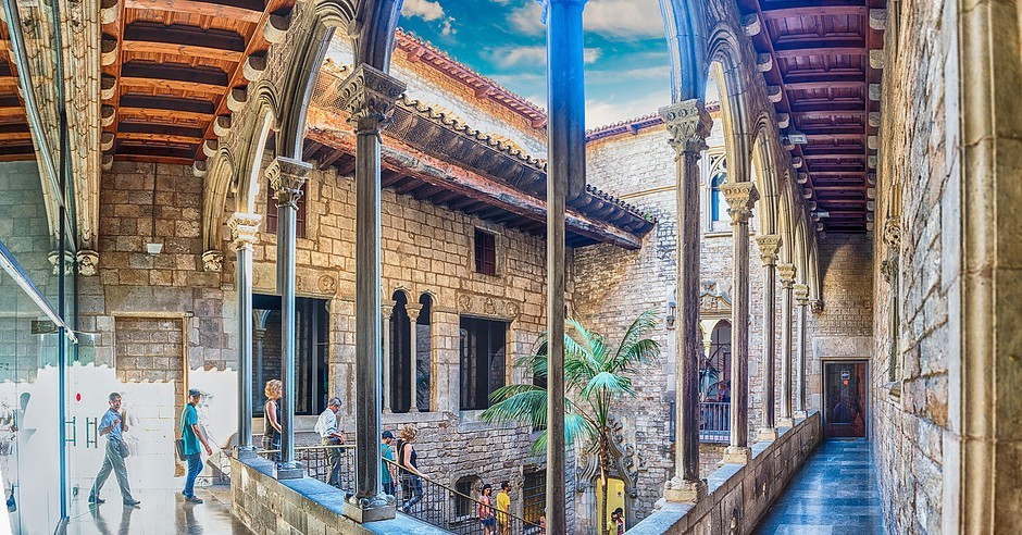 inner courtyard of Picasso Museum in Barcelona