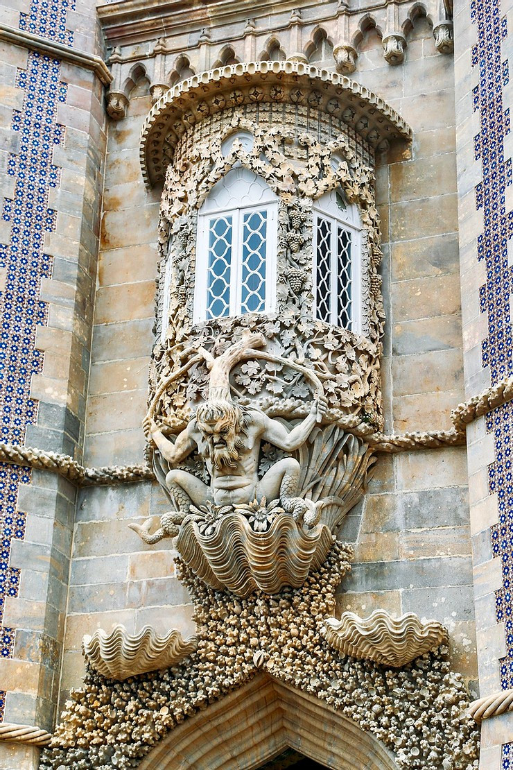 merman gargoyle on the facade of Pena Palace