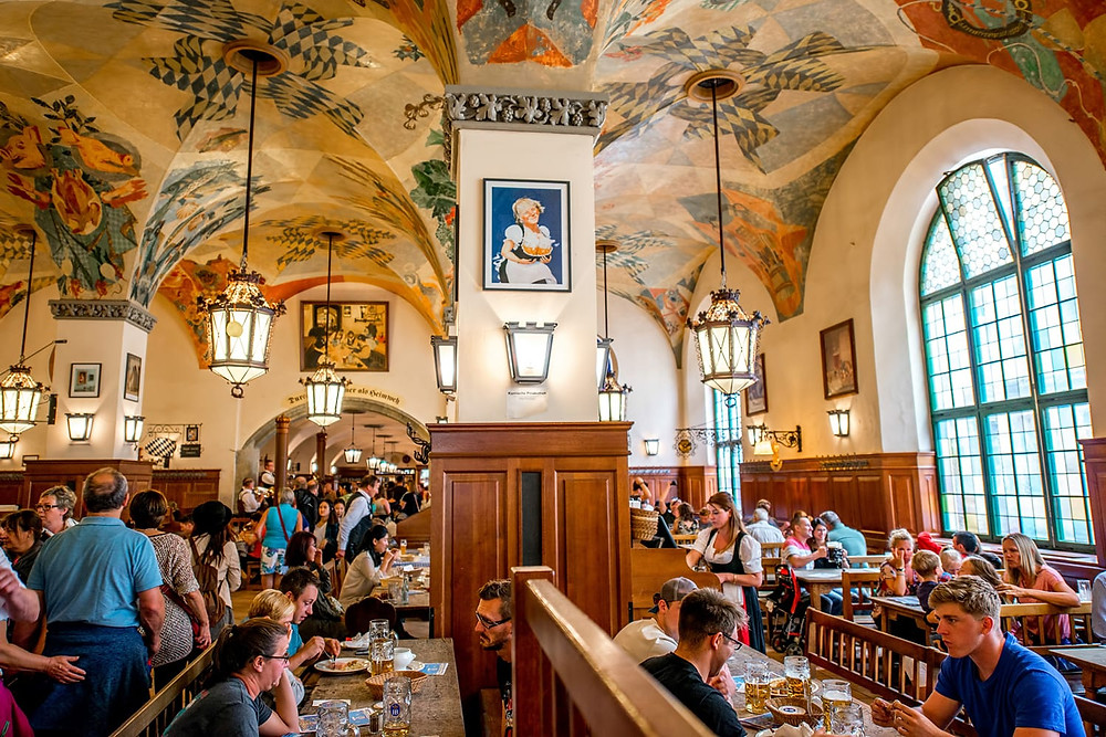 interior of the Hofbrahaus, Munich's famous beer garden
