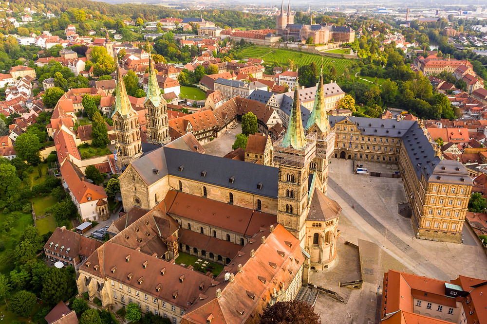 aerial view of Bamberg Cathedral, now under renovation