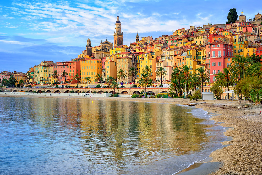 Menton -- with pastel colored houses in dusty rose and ochre