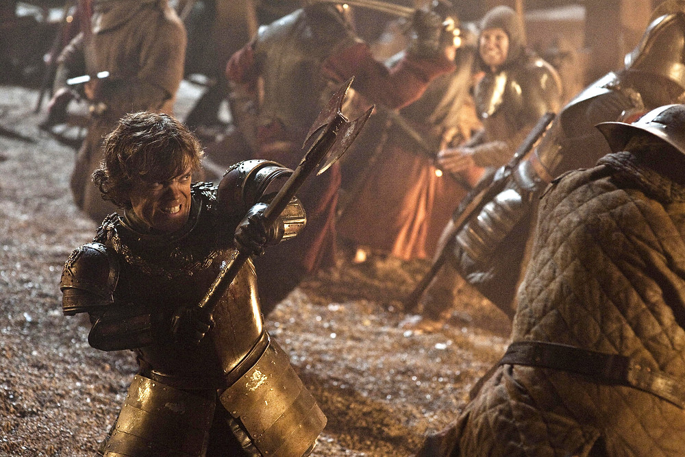 Tyrion fighting valiantly in the Battle of Blackwater Bay