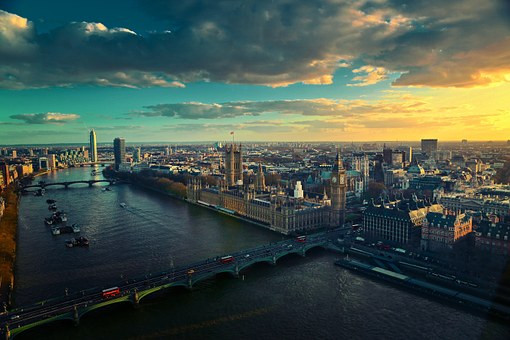 the Thames River and Westminster in London