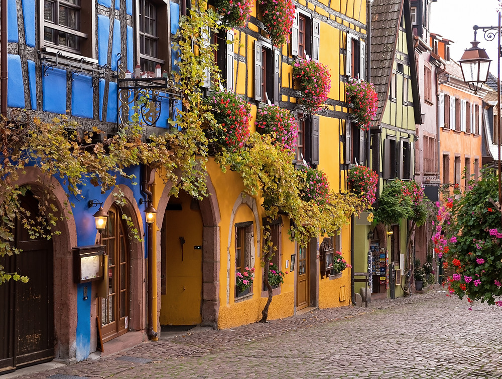 the colorful village of Riquewihr in France's Alsace region