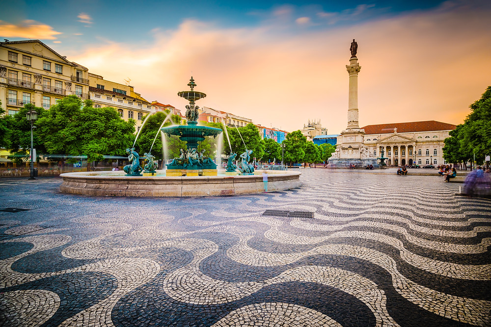 Rossio Square in the Baixa neighborhood of Lisbon