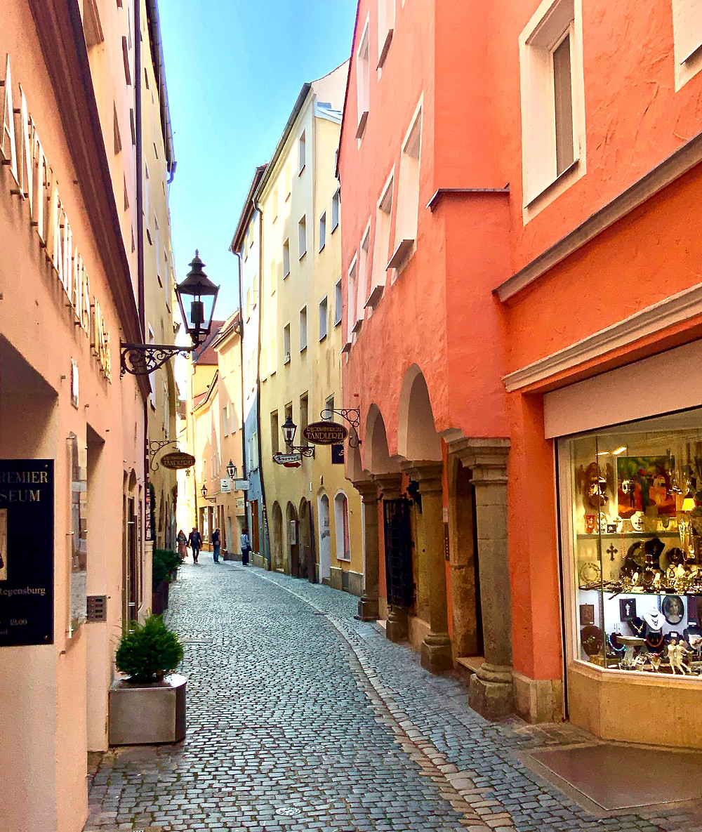 a medieval street in Regensburg, where I got a ticket while parking well off the historical center