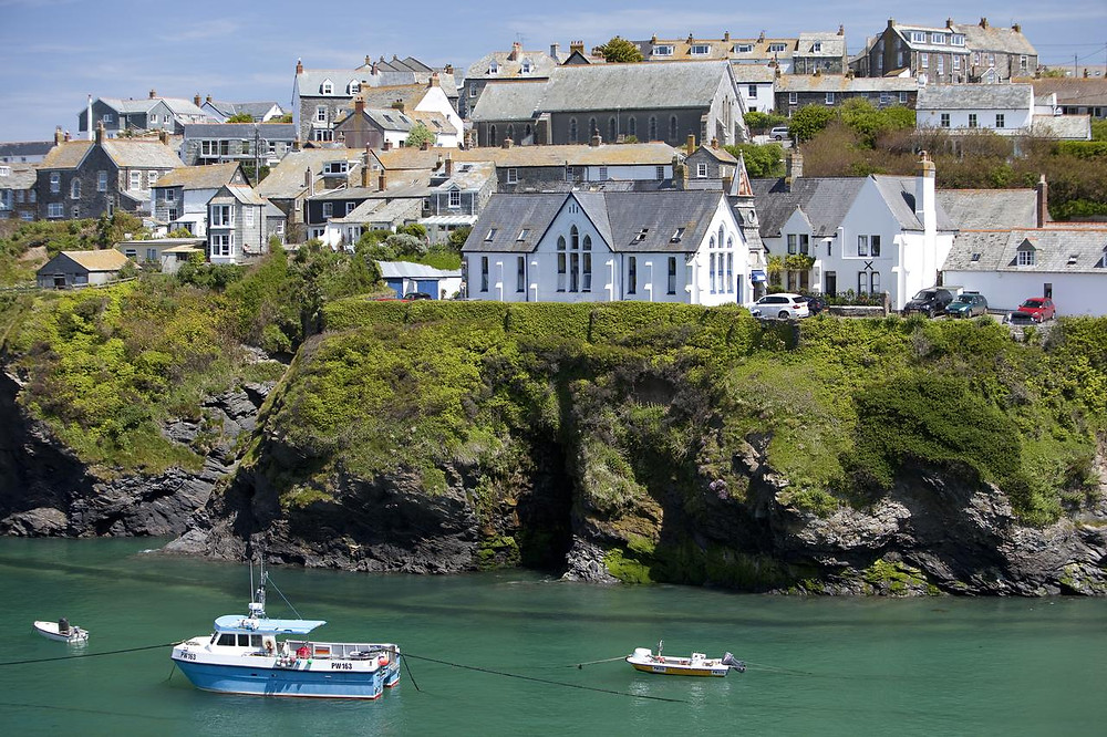 the Old Schoolhouse Hotel, perched on a seaside cliff in Port Isaac