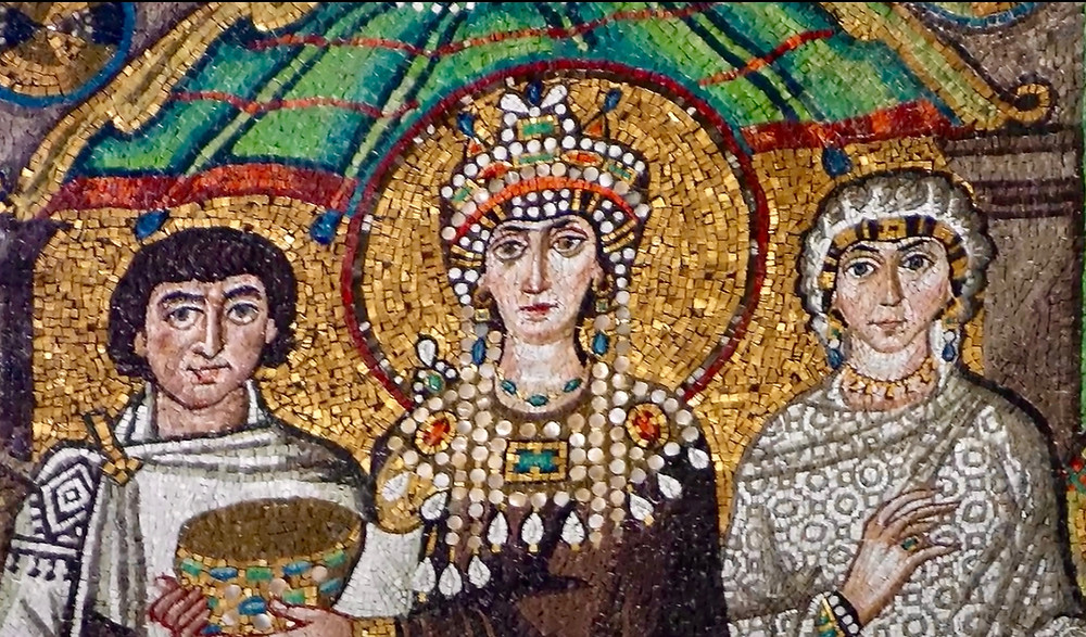 detail of Theodora mosaic showing her elaborate jewelry