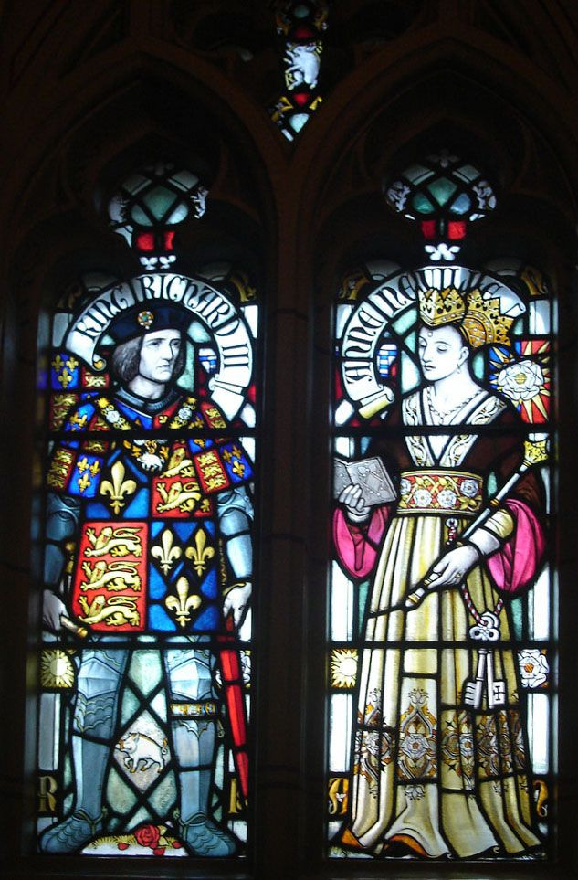 Richard III and Queen Anne Neville, stained glass by William Burgees at Cardiff Cathedral
