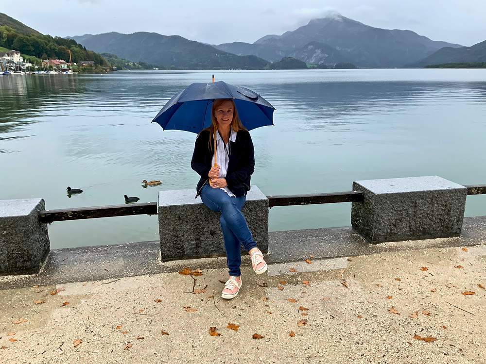 relaxing by Lake Mondsee, the Moon Lake, when it started to rain