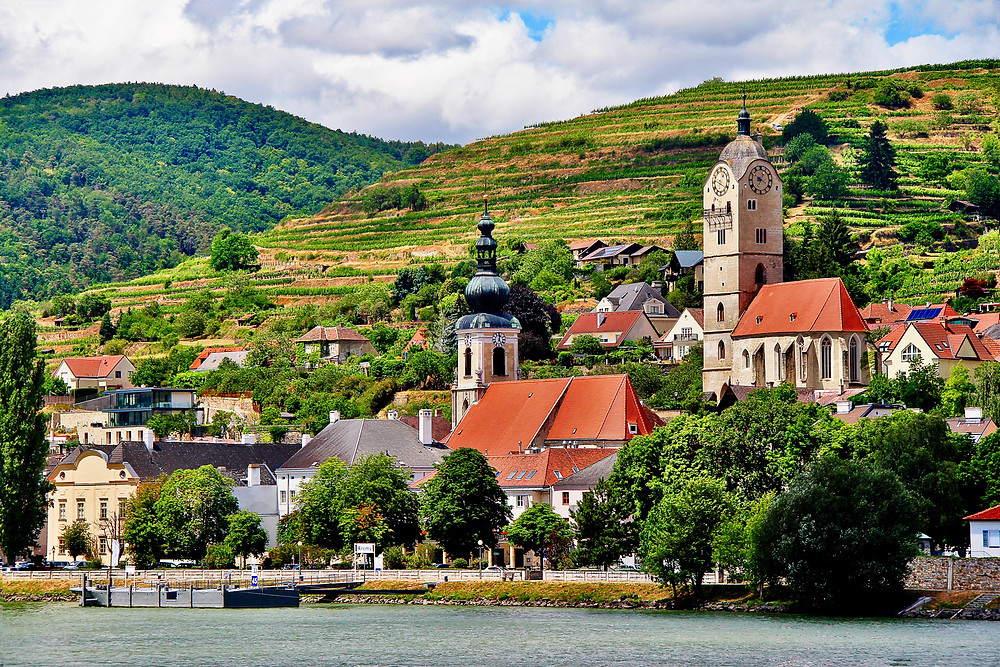 Krems as seen from the Danube River, a gorgeous village in the Wachau Valley