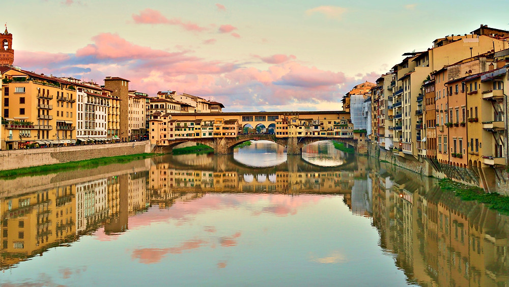 historic Florence, with the Ponte Vecchio in the center