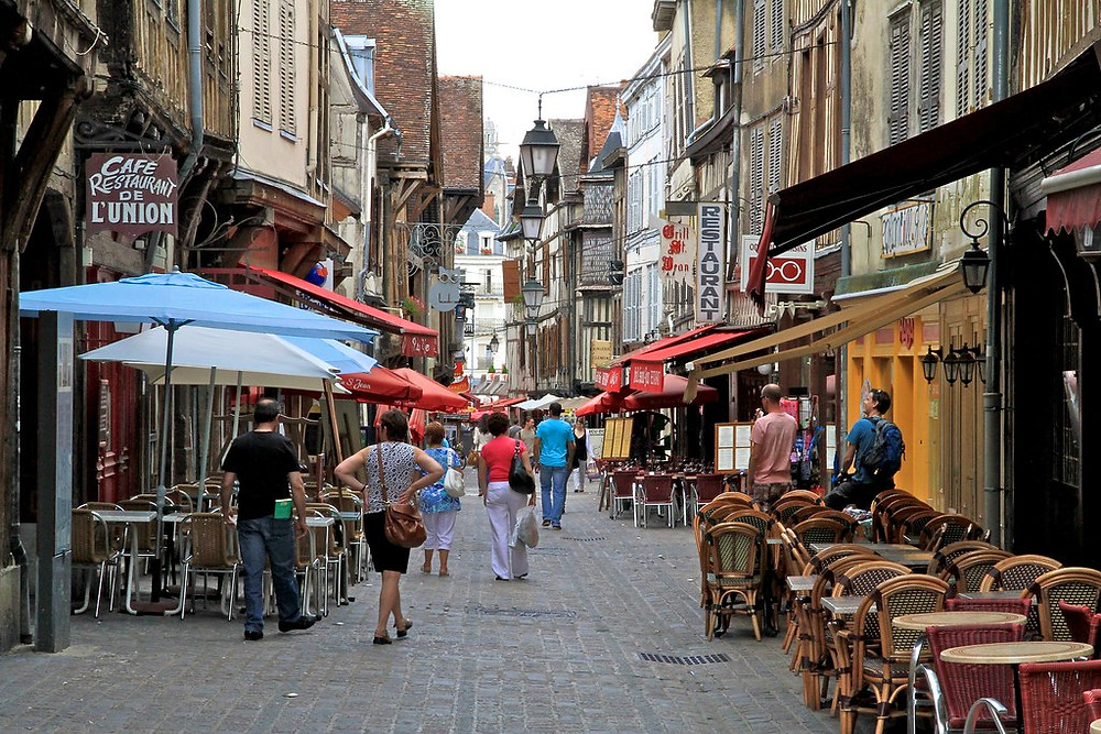 pedestrianized cobblestone street in Troyes france