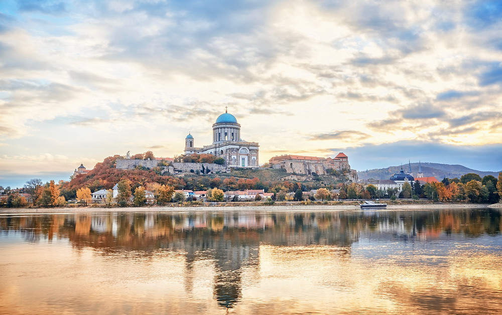 Esztergom Basilica in Hungary, perched picturesquely on the Danube River