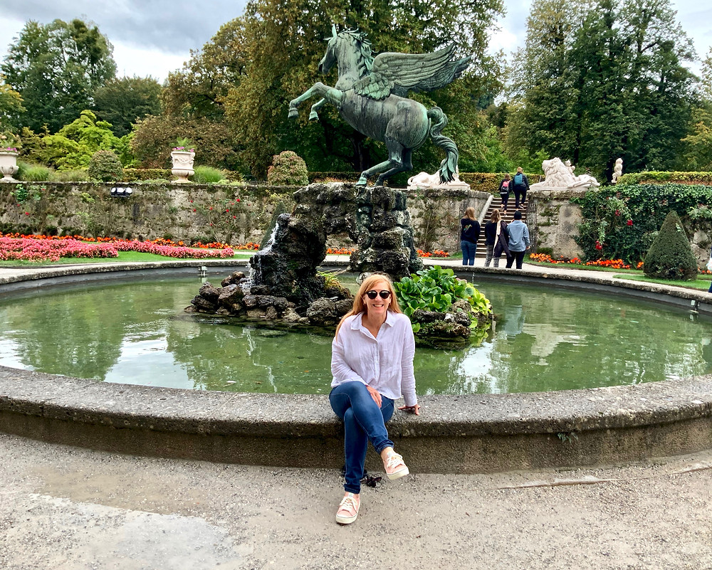 chilling at the Pegasus Fountain after skipping through the trellis