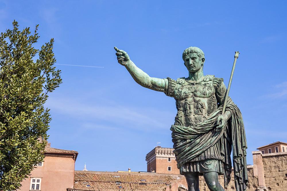 statue of Emperor Augustus int he Forum of Augustus