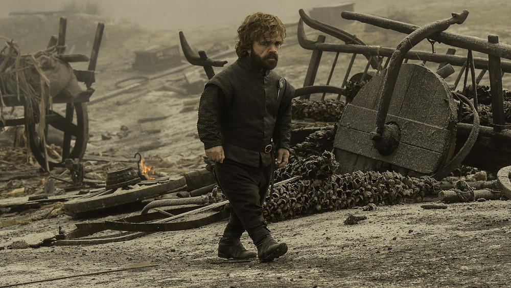 Tyrion is horrified and dejected after Drogon destroys the Lannister army.