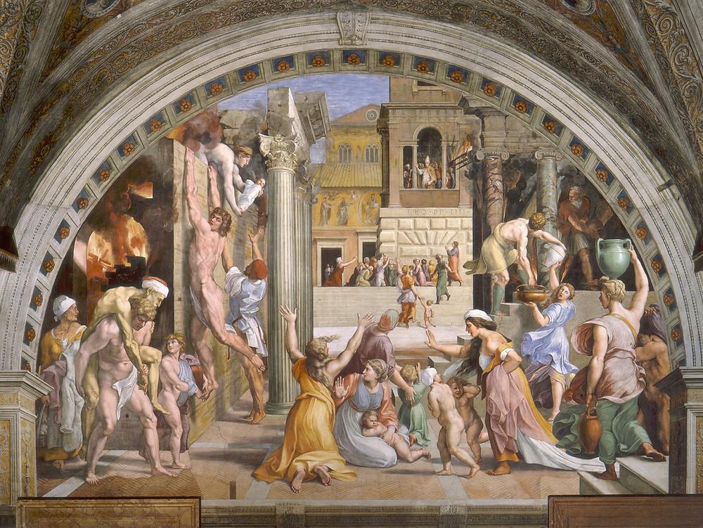 Raphael and Romano, Fire in the Borgo, 1514