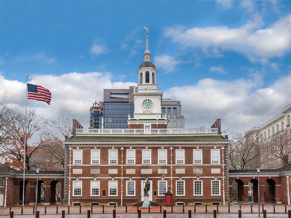 Independence Hall in Philadelphia, where the Declaration of Independence was signed