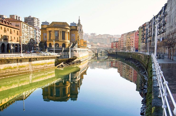 The Ribera market perched on the Nervion River in Bilbao