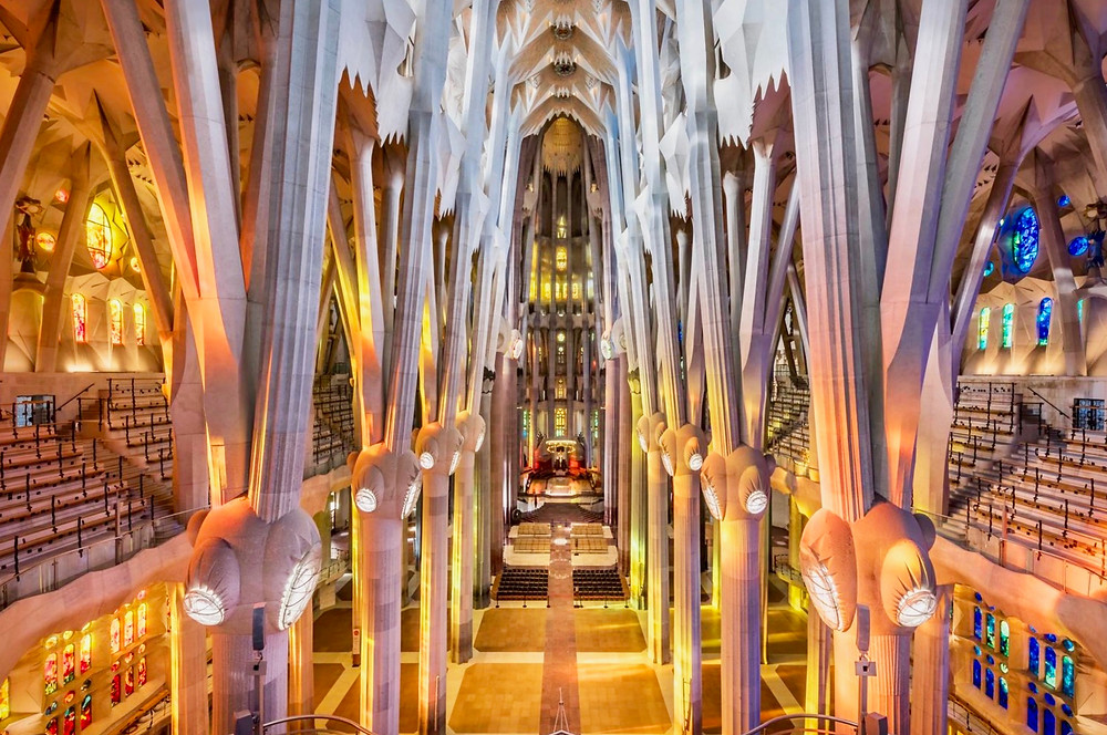 nave of Sagrada Familia, with a forest of columns
